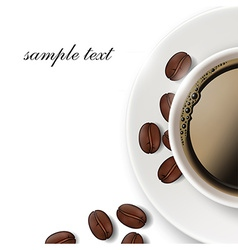 Cup of coffee and coffee beans on a white vector