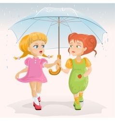 Two friends holding umbrella template greeting vector