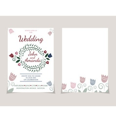 Wedding invitation card templates with watercolor vector