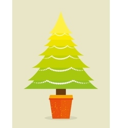 Merry christmas decorative stuffs and pine tree vector