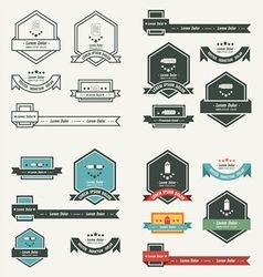 Label and ribbon template set vector