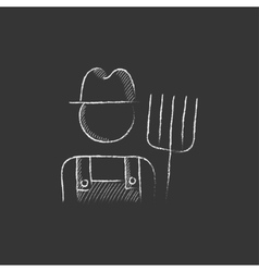 Farmer with pitchfork Drawn in chalk icon vector image