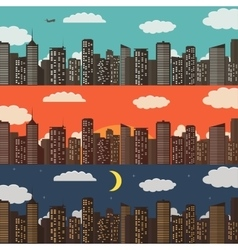 Three urban landscape banners summer city vector