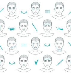 Seamless pattern of face plastic surgery flat vector