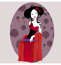 A beautiful geisha in red dress vector