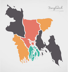 Bangladesh map with states and modern round shapes vector
