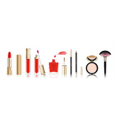 Beautiful cosmetic set in gold lipstick lip vector