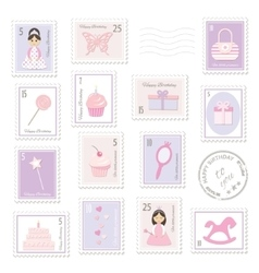 Birthday postage stamps set for girls vector image