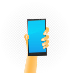 black smartphone in hand vector image
