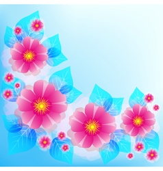 Blue background with decorative flower and leaf vector