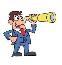 Businessman with telescope 2 vector image