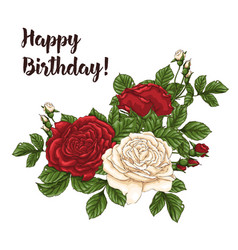 Card with garden white and red roses and vector