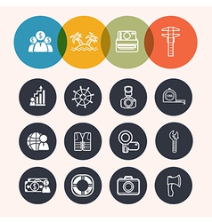Collection circle series icons businesstourismcame vector