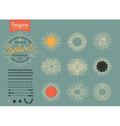 Collection of trendy hand drawn retro sunburst vector
