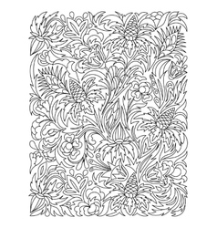 Coloring page with vintage flowers pattern vector image