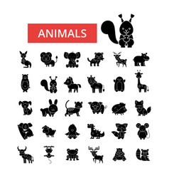 cute animals thin line icons linear vector image