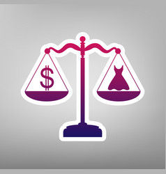 Dress and dollar symbol on scales purple vector