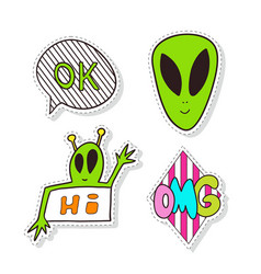 fashion stickers elements with aliens bright clip vector image vector image