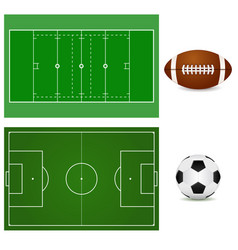 Football field and soccer ball american football vector