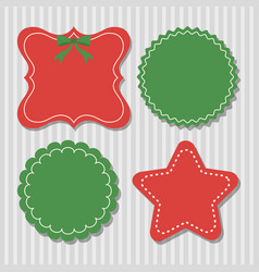 Four christmas labels in green and red vector