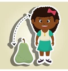 Girl cartoon pear fruit vector