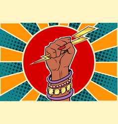 girl power lightning in the fist african woman vector image vector image