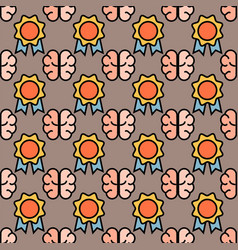 Gold medals seamless pattern brain idea background vector