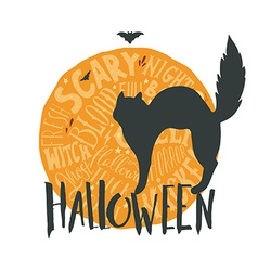 Happy halloween emblem with a black cat and hand vector