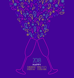 happy new year 2018 outline color drink toast vector image