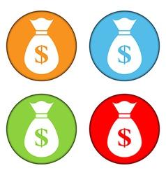 Money sign button set vector image vector image