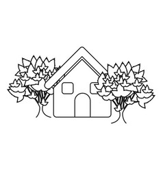 Monochrome contour house with trees vector