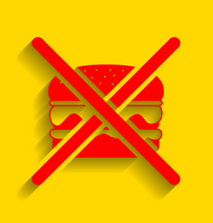 no burger sign red icon with soft shadow vector image vector image