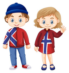Norwagian boy and girl in dress with norway flag vector