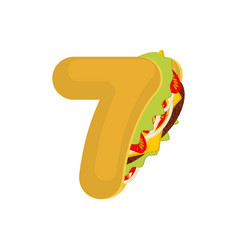 Number 7 tacos mexican fast food font seven taco vector