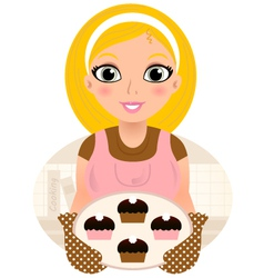 Retro Cooking blond Woman serving sweet food vector image