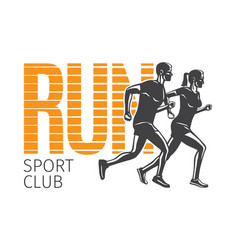 Run sport club running man and woman logotypes vector