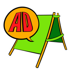 Sandwich board with ad letters icon cartoon vector