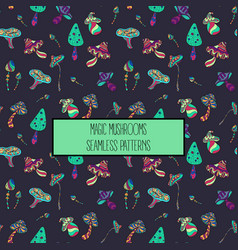 seamless pattern of stylized magic mushrooms vector image