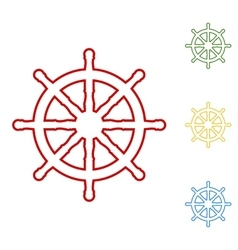 Ship wheel Set of line icons vector image vector image