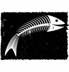 skeleton of fish fun vector image vector image