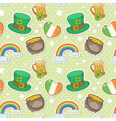 St Patricks Day stickers elements seamless pattern vector image vector image