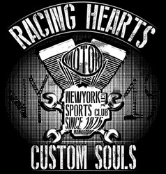 Tee graphic design motorcycle and typography new vector