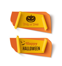 two orange and yellow halloween treat or trick vector image
