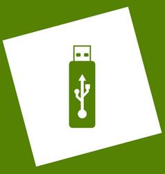 Usb flash drive sign white icon vector