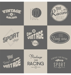 Vintage car racing badges vector image