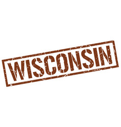 Wisconsin brown square stamp vector