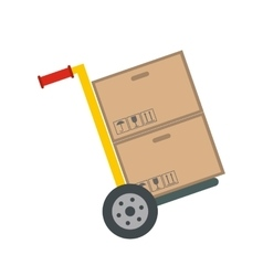 Yellow hand cart with cardboard boxes vector