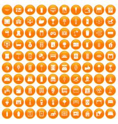 100 interior icons set orange vector