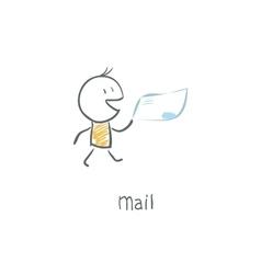 postman delivering mail vector image