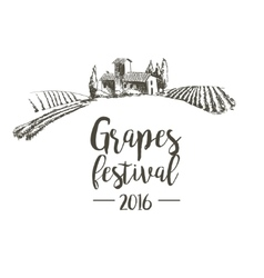 Grapes festival lodge with vineyards vector